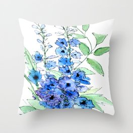 Delphinium Illustration Watercolor Painting Throw Pillow