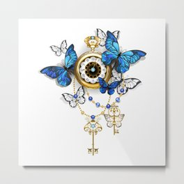 Antique Clock with Butterflies Morpho Metal Print