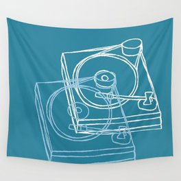 Blue Record Player Wall Tapestry