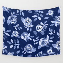 Hand painted navy blue white watercolor floral roses pattern Wall Tapestry