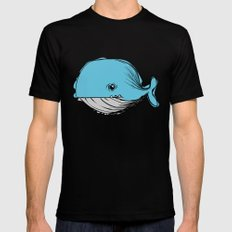 blue whale Black SMALL Mens Fitted Tee