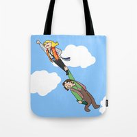 grantaire Tote Bags featuring Enjolras and Grantaire by Miki Price