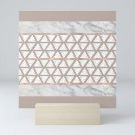 Marble Geometric Sand Beige Triangle Pattern Taupe Mini Art Print