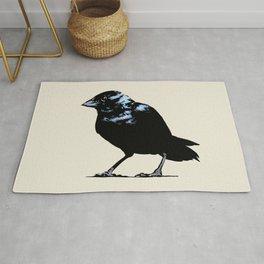 Blue-black Grassquit Bird Ink Illustration Rug