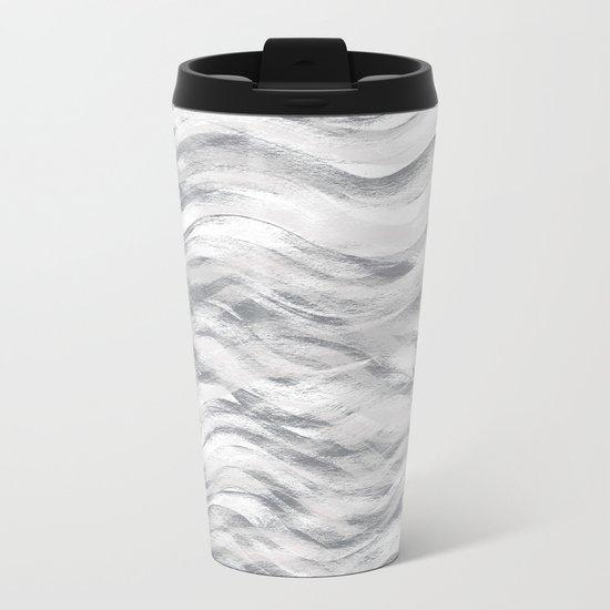 Silver Waves Metal Travel Mug