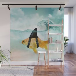 Goldfish with a Shark Fin, wave Wall Mural