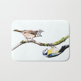 Blue tit and crested tit, watercolor Bath Mat