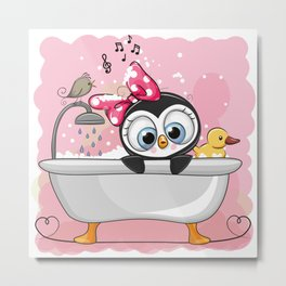Penguin Bathtime Metal Print