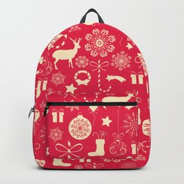 White Objects Christmas Pattern Backpack