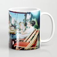 arsenal Mugs featuring Cafe Arsenal, Paris (Double Exposure) by istillshootfilm