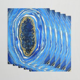 Cobalt blue and gold geode in watercolor Wrapping Paper