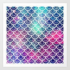 Mermaid Scales Pink Turquoise Blue Art Print
