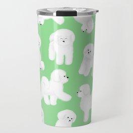 Bichon Frise Pattern (Green Background) Travel Mug
