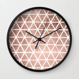 Geometric faux rose gold foil triangles pattern Wall Clock