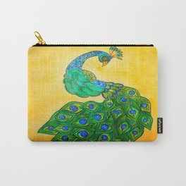 peacock with gold background Carry-All Pouch