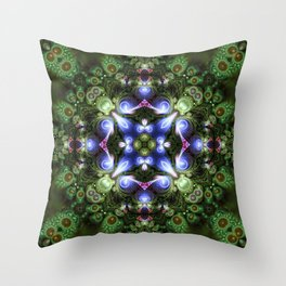 Fractal Forest Indigo Throw Pillow