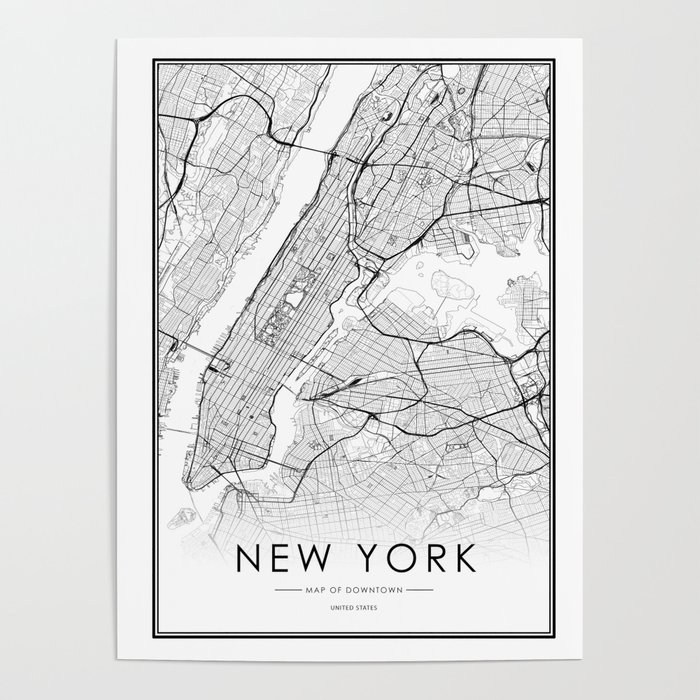Map Of New York Poster.New York City Map United States White And Black Poster By Victorialyu