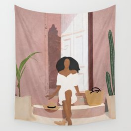 Woman sitting on the porch Wall Tapestry