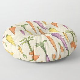 Heirloom Carrots on Cream Floor Pillow
