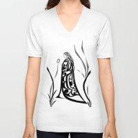 medicine V-neck T-shirts featuring Medicine Woman by Lou-ann Neel Studio