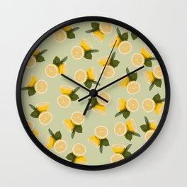 Yellow Citrus Lemon Fruit on Pale Lime Green Wall Clock