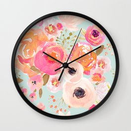 Indy Bloom Blush Blue Florals Wall Clock
