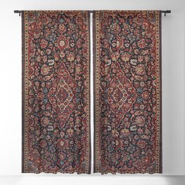 Central Persia Kashan Old Century Authentic Colorful Red Blue Purple  Vintage Patterns Blackout Curtain