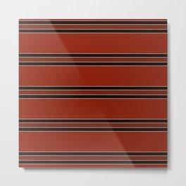 Rustic Red Orange and Black  Multi Stripes Metal Print