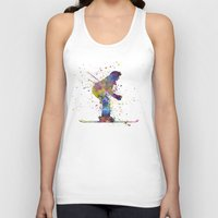 skiing Tank Tops featuring woman skier skiing by Paulrommer