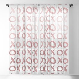 White & Rose Gold XOX Pattern Sheer Curtain