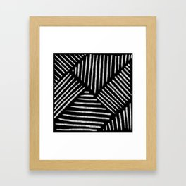 Lines and Patterns in Black and White Brush Framed Art Print