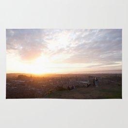 Salisbury Crags overlooking Edinburgh at sunset 2 Rug