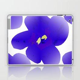 Large Retro Blue Flowers #1 White Background #decor #society6 #buyart Laptop & iPad Skin
