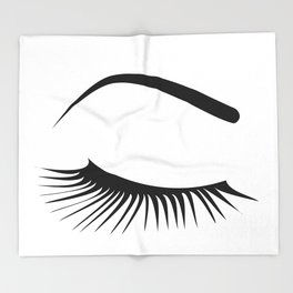Closed Eyelashes Right Eye Throw Blanket