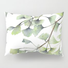 Mint Green Ginkgo Leaves and Green Goldfish Watercolor Design Pillow Sham