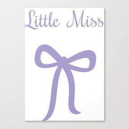 Little Miss - purple bow Canvas Print