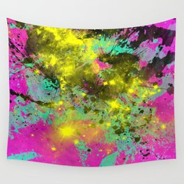 Stargazer - Abstract cyan, black, purple and yellow oil painting Wall Tapestry