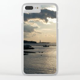 Lady Liberty in the Distance at Sunset Clear iPhone Case