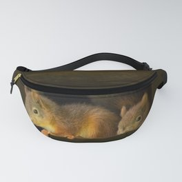 Young squirrels peering out of a nest #decor #buyart #society6 Fanny Pack