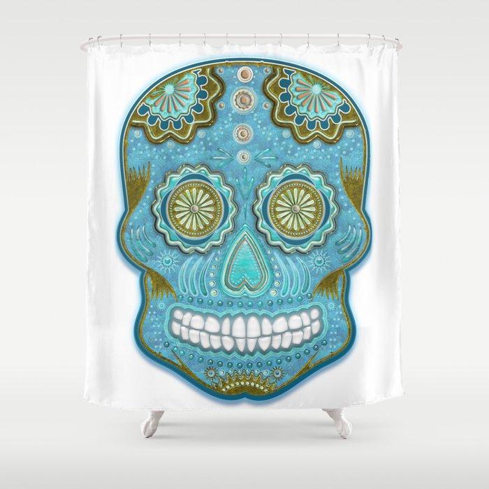 sugar skull Shower Curtain by ancello