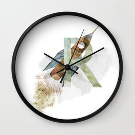 R is for Rocket - Letter R Monogram Wall Clock