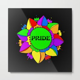 Rainbow Pride Mandala - Black Background Metal Print