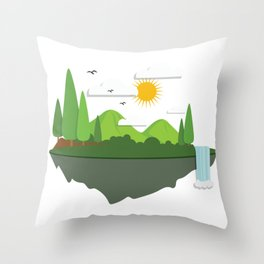 Flat Earth print Funny Flat Earther Society Gift Throw Pillow