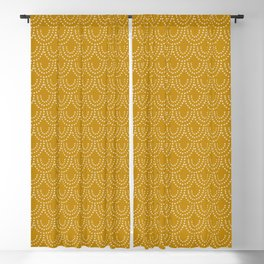 Dotted Scallop in Gold Blackout Curtain
