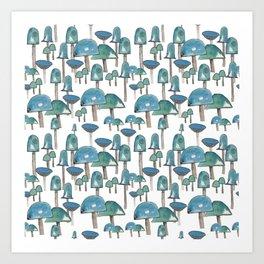 Turquoise mushrooms Art Print