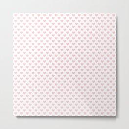 Large Millennial Pink Pastel Love Hearts On White Metal Print