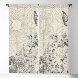 BUTTERFLY SUNSHINE Minimalist Modern and Vintage Illustration Design of a Monarch Wildflower Sun Ray Blackout Curtain