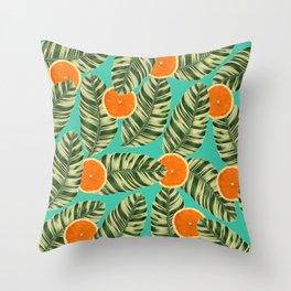 Oranges On Teal Exotic Throw Pillow