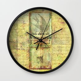 Shakespeare Quote from Hamlet Wall Clock