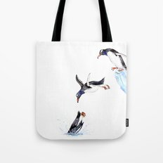 Jumping Penguin Tote Bag